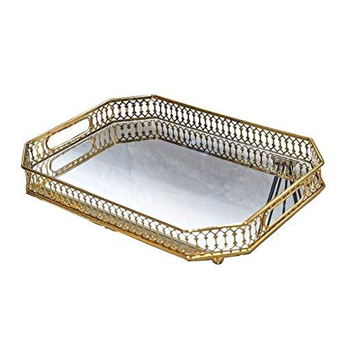 Generic Spiegel Tablett Dekorative Tablett Parfüm Tablett Make Fach Schmuck Tablett Gold Gespiegelt Tablett für Kristall Perlen Eitelkeit, Kommode, Bad, Rechteck