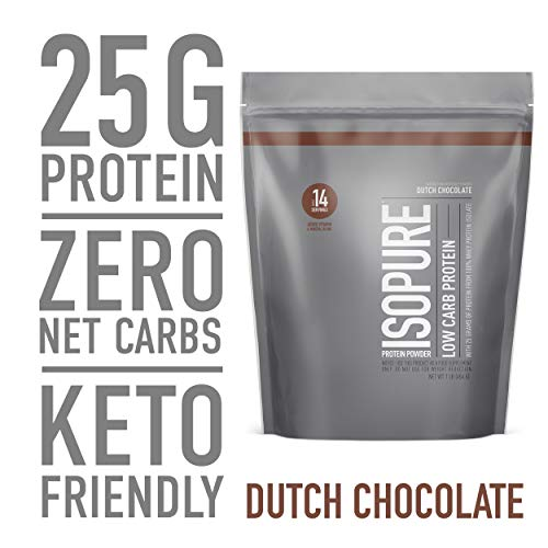 Isopure Low Carb, Keto Friendly Protein Powder, 100% Whey Protein Isolate, Flavor: Dutch Chocolate, 1 Pound (Packaging May Vary)