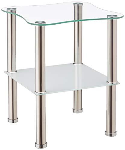 HAKU Möbel 33310 Beistelltisch 40 x 40 x 47 cm, Edelstahl / weiß