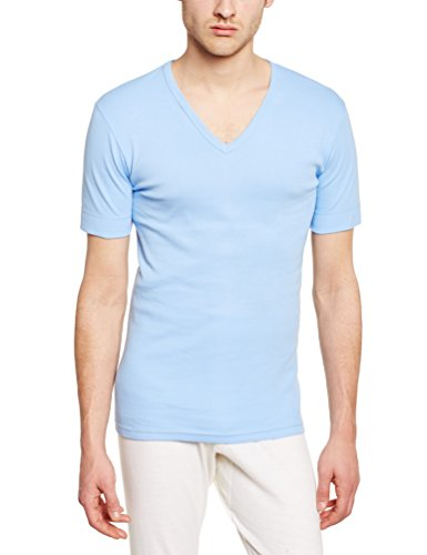 Armor Lux, T-Shirt Manches Courtes Encolure V Homme, Bleu, Small (Taille Fabricant: 2)