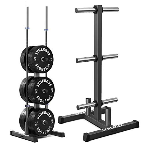 Synergee Olympic Weight Plate Tree Rack & Barbell Holder – Vertical Weight Rack for Gym Storage Home, Garage & Commercial