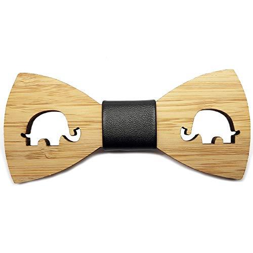 BOBIJOO Jewelry - La Pajarita De Madera Natural De Bambú Niño-Hombre Animal Elección De Hecha A Mano De Cuero - Ajustable, N05