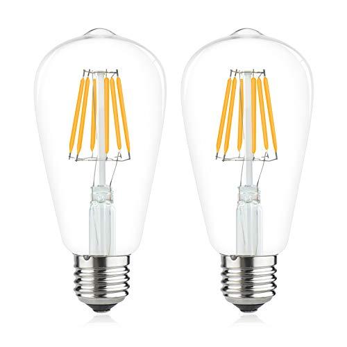 Bonlux 6W E27 ST64 filament ampoule led Edison AC/DC 12V led vintage Classic Blanc Chaud 2700K 60W ampoule halogène équivalence 600lm pour camping-car, yacht, vapeur, etc(2pcs, Non-Dimmable)