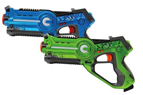Jamara 410036 - Impulse Laser Battle Set – Laser Tag mit 3 Battlemodi: Last man standing, Duell, 4 Teams mit unbegrenzter Teilnehmerzahl - 4 simulierte Waffenarten – Trefferanzeige - 75m Reichweite