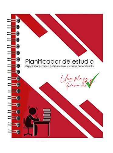 Organizador/planner mensual y semanal perpetuo personalizable (24 meses). Para todo tipo de estudios, oposiciones, selectividad y exámenes.