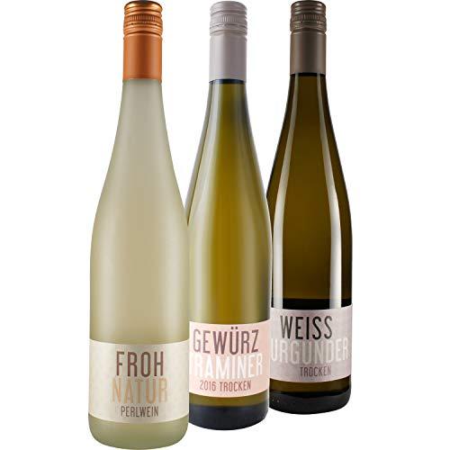 """Nehrbaß - 3er Wein Set trocken """"Sommerabend"""" 3 x 0,75 Liter aus: 1 x Frohnatur 2019 Perlwein, 1 x Gewürztraminer 2019 Weißwein, 1 x Weißburgunder 2019 Weißwein - Aus Deutschland (Rheinhessen)"""
