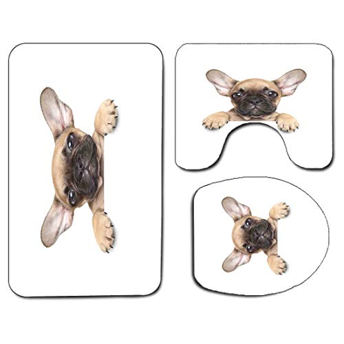 3Pcs Non-Slip Bathroom Rug Toilet Seat Lid Cover Set Bulldog Soft Skidproof Bath Mat Pedigreed Young Puppy Close-up Photo Best Friend Pet Lover Print,Sand Brown Black and White Absorbent Doormat Bedro