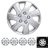 """2005 honda accord 16 inch rims - BDK Wheel Guards – (4 Pack) Hubcaps for Car Accessories Wheel Covers Snap Clip-On Auto Tire Rim Replacement for 16 inch Wheels 16"""" Hub Caps (Textured Original 1021)"""