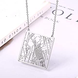 SHUZHENLIAN Jewelry Map Pendant Necklace Your Hometown Necklace