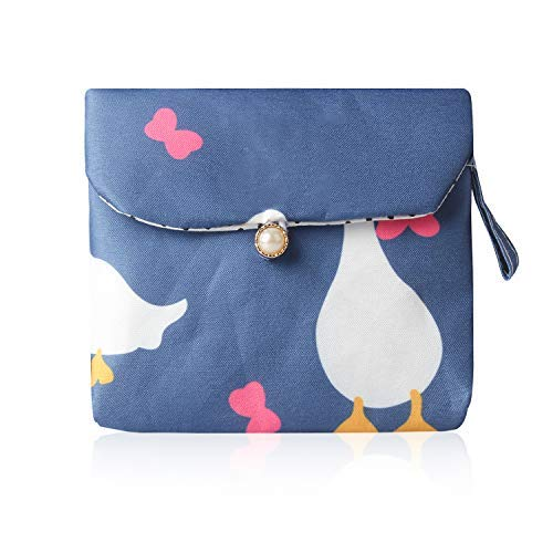 Tomedeks 1 pieza bolsa sanitaria de dibujos animados lindo algodón tela servilleta bolsa de almacenamiento de gran capacidad señoras bolsa de almacenamiento sanitario (patrón de pato, tamaño 13 x 13 c