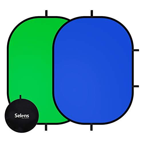 Blue Popup Chroma Key Backdrop Green 2m x 1.5m Reversible Screen Background