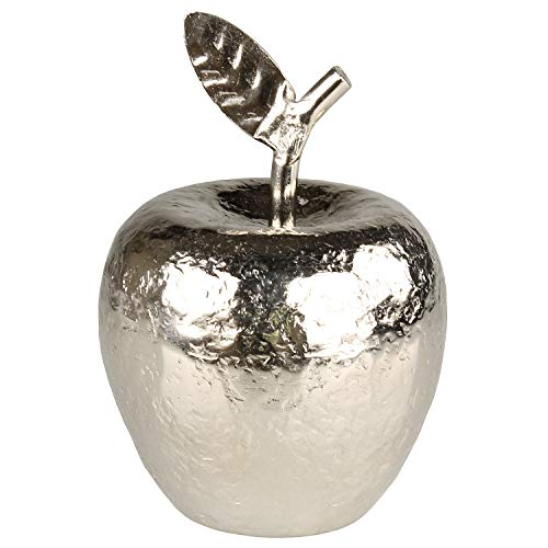 MACOSA EX235534 Deko-Apfel 15 cm hoch Aluminium Silber gehämmert künstliche Frucht Design-Skulptur Deko-Obst Moderne Dekofigur