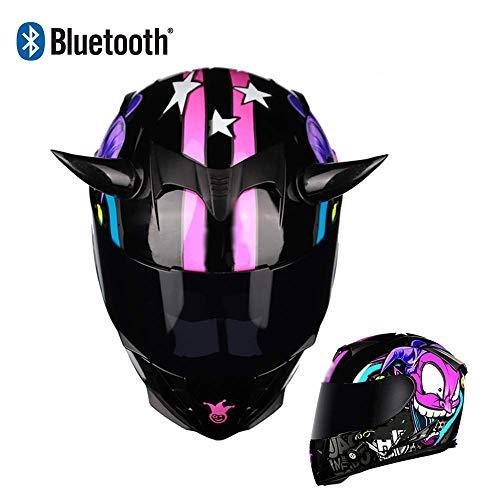 HYRGLIZI Casco de Motocicleta Modular Casco de Motocicleta Integrado con Bluetooth HD Negro Marrón Lente Auriculares y micrófono Integrados Casco de Carreras de Cara Completa Diseño de Cuerno de pers