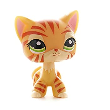 Shorthair Cats Toy – Pretty Orange Tiger Kitty – Rare Little Pet Shop Striped Tiger Figure – Green Eyes Mini Cat – Cute Short Hair Toys for Kids – Animal Toy for Girls & Boys