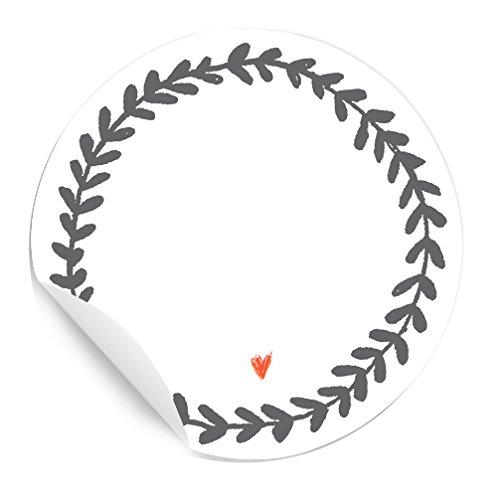 24 Aufkleber Freitext in Weiß Grau im Tusche Stil zum Selbstbeschriften, MATTE Papieraufkleber für eure Hochzeit