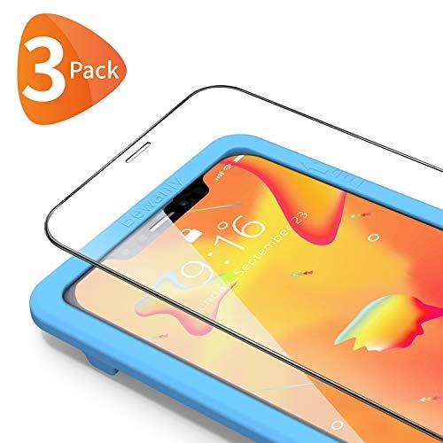 Bewahly Cristal Templado para iPhone XS Max/11 Pro Max [3 Piezas], Ultra Fino Protector Pantalla con Marco de Instalación Fácil, 9H Dureza Vidrio Templado para iPhone XS Max/11 Pro Max (Transparente)