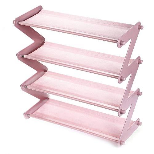 PN-Braes Zapatero plegable de metal con 4 niveles y organizador de acero desmontable para guardar varios pares de zapatos (tamaño: talla única; color: rosa)
