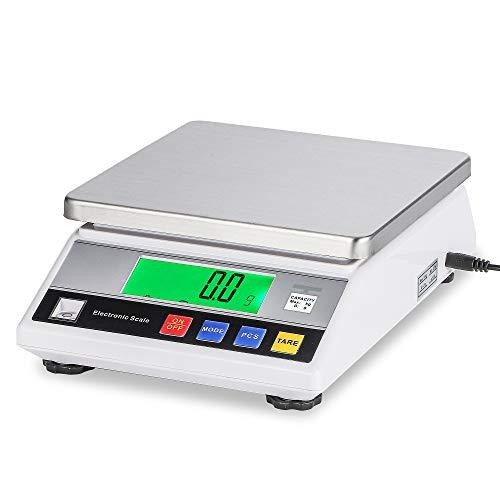 Bonvoisin Balanza de Precisión Báscula Digital de Laboratorio con Función de Conteo para Uso de Lab Escuela Joyería Oro Cocina + Certificado CE (5000g, 0.01g)