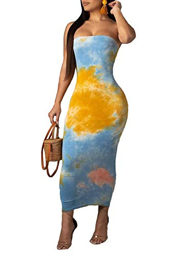 Ophestin Women Sexy Strapless Tube Tie Dye Ombre Print Off Shoulder Tight Bodycon Long Pencil Maxi Dress Blue L