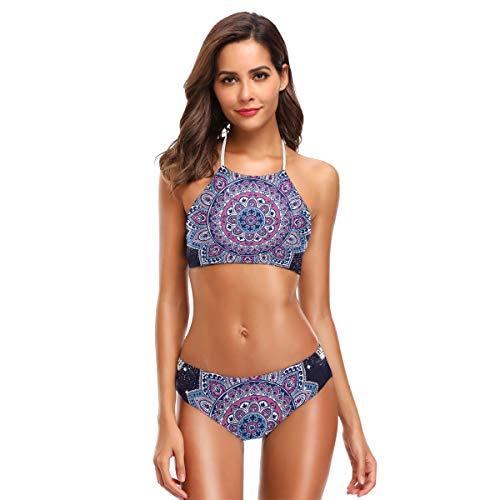 BIGJOKE Bikini für Damen, florales Ethno-Mandala-Muster, Neckholder, hoher Kragen, gepolstert, Badeanzug-Set für Erwachsene, Teenager, Mädchen, S-XXL Gr. S, mehrfarbig