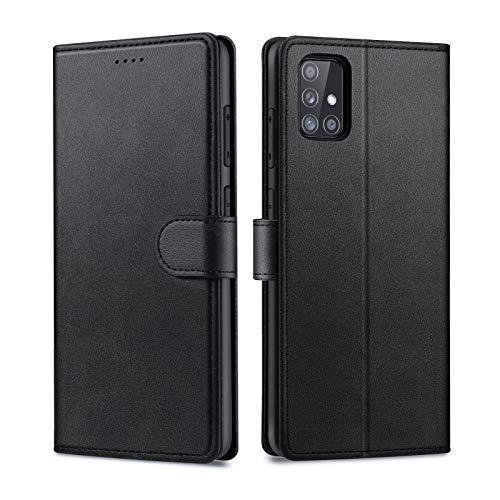 Focusor Compatible con Samsung Galaxy A51 Funda, Samsung A51 Funda, funda de teléfono móvil Samsung A51 Funda de piel con tapa y función atril de piel sintética para Samsung A51, color negro