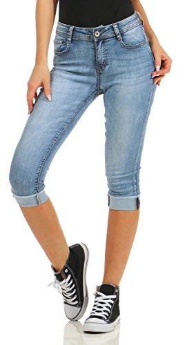 Fashion4Young 5978 Damen Capri Jeans Bermudas Shorts Kurze Hose Caprijeans High-Waist (Blau, XXL=44)