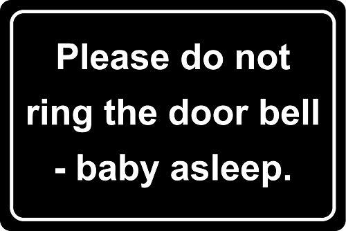 Gelieve niet te bellen de deurbel Baby slaapbord - Zelfklevende sticker 300mm x 200mm