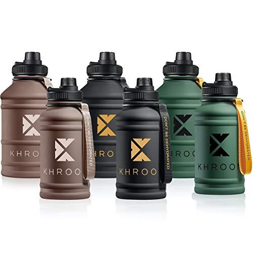 Khroom 1,3L-2,2 Liter Edelstahl Trinkflasche - Sportverschluss, Kohlensäure geeignet | Große 2...