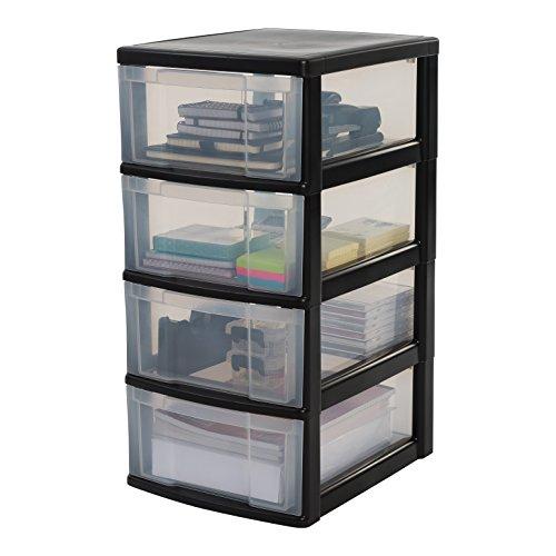 Iris Ohyama, Schubladenschrank auf Rollen / Rollcontainer - New Chest NMC-004 - plastik, schwarz, 4 x 11 L, L30 x B38 x H67 cm