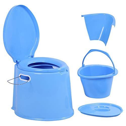 Easy to Empty and Clean Portable Travel Toilet with Detachable Inner Bucket and Removable Toilet Paper Holder, for Camping, Hiking, RV, Boating and Trip(Blue)