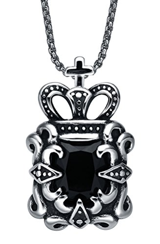 Arco Iris Jewelry Acciaio Inossidabile Collana con Pendente da Uomo o Donna, Unise, Croce e la Corona Ciondolo con Catena a Maglia Tonda (Cristallo Nero) - g2005c3