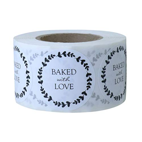 Hybsk Baked with Love Stickers with Wreath Around 1.5 Inch Round Total 500 Adhesive Labels Per Roll (Glossy Paper)