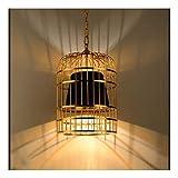 LHTCZZB Colgar la jaula de pájaro de la lámpara de techo, industrial, retro, metal, E27, 11.8 x 15.7 En, Negro