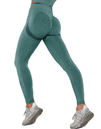 MANIFIQUE Leggings de entrenamiento para mujer, sin costuras, para fitness, opacos, de compresión, de cintura alta, para yoga, correr, para control del abdomen, color verde oscuro