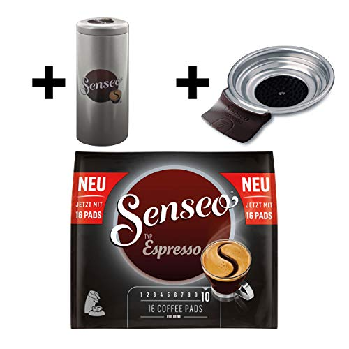 Senseo Typ Espresso Kaffeepads, Röstkaffee, Kaffee, 16 Pads, mit Padhalter und Paddose