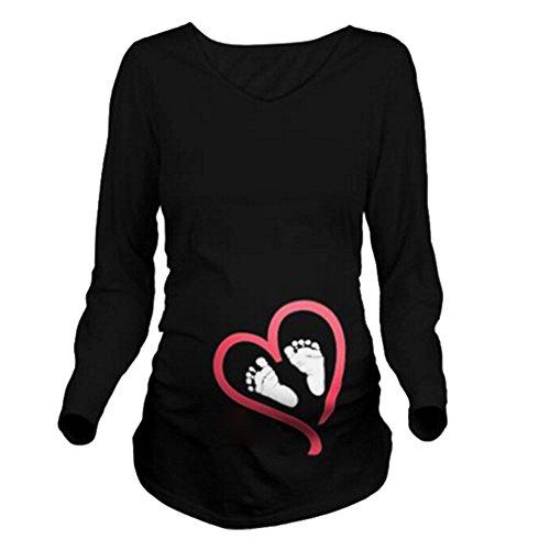 Meedot Maternity Umstandsmode T-Shirt Langarm Shirt Damen Langarmshirt Umstandsshirt Schwangerschaft Umstands Shirt Jersey Top Pullover Schwarzfuß M