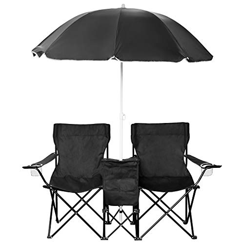 1PLUS 2er Partner Campingstuhl, klappbar, mit Sonnenschirm und Kühlfach - Doppelsitzer Anglerstuhl für 2 Personen (schwarz)