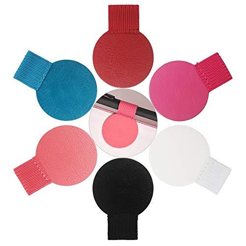 Stiftschlaufenhalter, selbstklebendes Leder Stifthalter mit elastischer Schlaufe, Stiftschlaufe für Notizbuch, Planer, Kalender, Klemmbretter etc. (runde Form 6 Farben 12 Packungen)