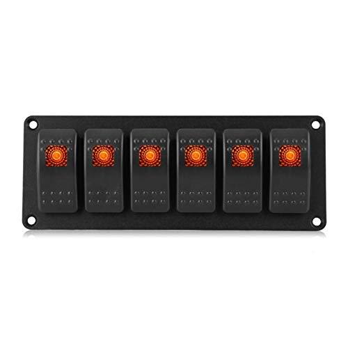 Panel de interruptores de coche, Panel de interruptores basculantes LED Panel de interruptores de barcos Panel de interruptores a prueba de agua Aluminio para yates(naranja)