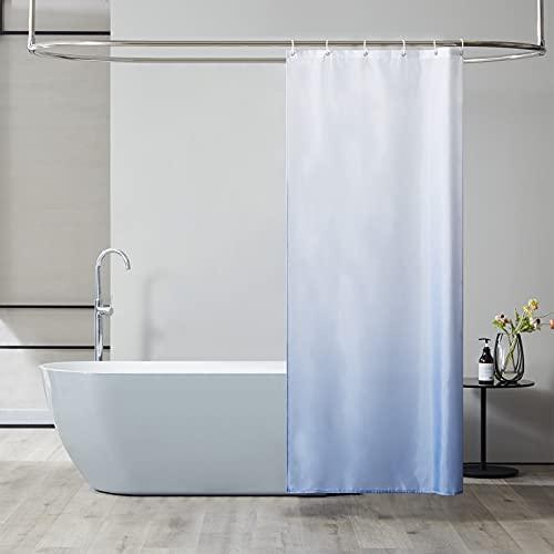 Furlinic Schmal Duschvorhang Badvorhang Textil aus Polyester Stoff Schimmelresistent Wasserabweisend Waschbar für Eck Dusche Kleine Badewanne Weiß nach Dunkelblau 90x180 mit 6 Duschringen.
