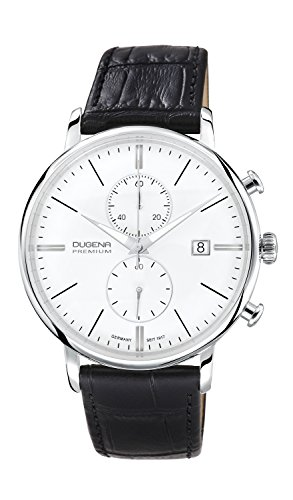 Dugena Herren-Armbanduhr Festa Chronograph - Traditional Classic Analog Quarz Leder 7000168