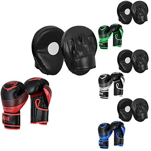 Roar Boxing Gloves & MMA Focus Pad Set Hook Jab Training Mitts (Red, 10oz)
