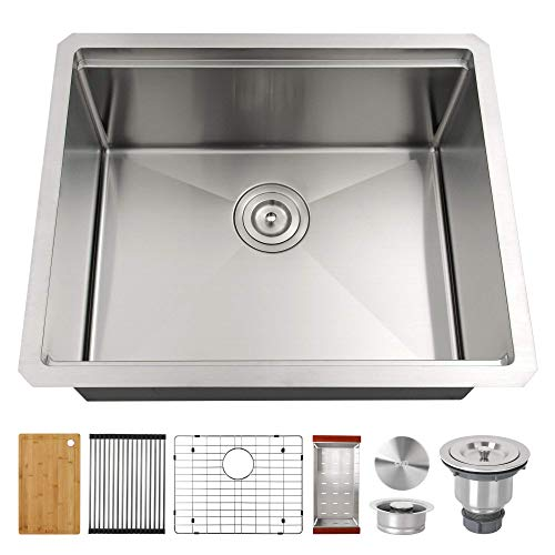 "LQS Kitchen Sinks, Stainless Steel Sink, Stainless Steel Undermount Kitchen Sink 23""x 19"", Workstation Ledge Kitchen Sinks, Undermount Small Bar and Prep Kitchen Sink, 16 Gauge Deep Single Sink Bowl"
