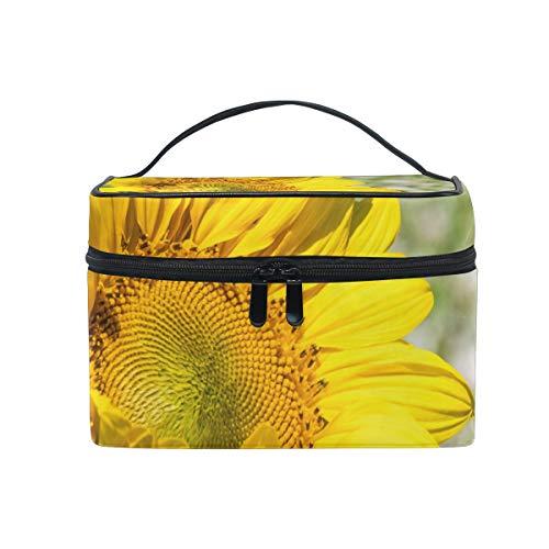 Sunflower Yellow Bloom Trousse de Maquillage de Voyage Organisateur pour Femme Fille Trousse de Toilette Portable Rangement Cosmétique Pouch en Toile