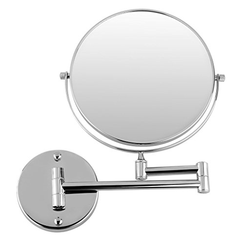 URBAN DESIRES Makeup Shaving 200 mm (8) Hi Glass Polished Chrome 5X Magnifying Mirror and Wall Bracket with Flexible Rod, Standard Size (Make in India)