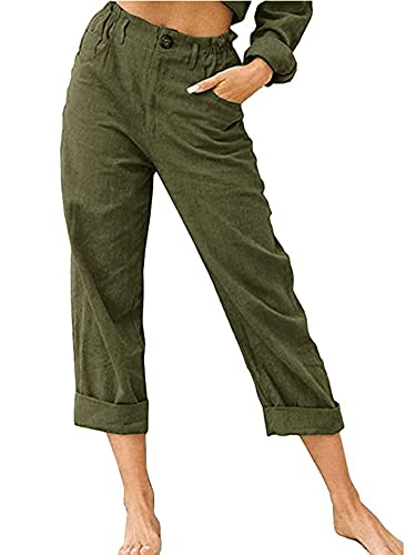 Women Solid Color Straight Trousers Slim Fit High Waist Long Pants with Pockets for Spring Autumn Streetwear (Army Green, Medium)