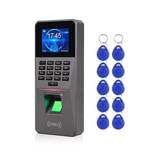 LUCINE 2.4inch TCP/IP/USB Sistema de Control de Acceso Por Huella Aigital RFID Biométrico Máquina Electrónica de Asistencia Con Reloj de Tiempo 10 Llaveros