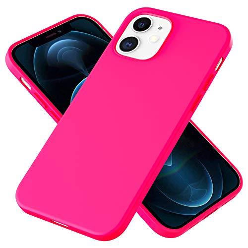 NALIA Carcasa Silicona Suave Compatible con iPhone 12 / iPhone 12 Pro Funda, Delgado Robusta Cubierta Resistente a la Suciedad con Microflujo, Soft Case Bumper Protectora Cover, Color:Neón Rosa