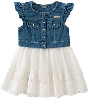 Calvin Klein Girls' Denim-Mix Fabric Dress