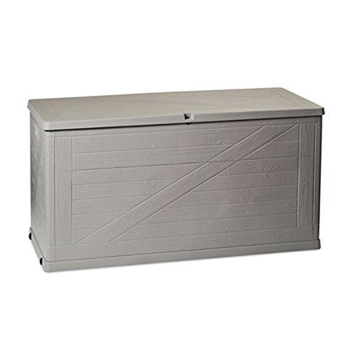 Kreher XL Kissenbox Wood in schöner Holz-Optik in Hellgrau. Mit 420 Liter Nutzvolumen, passend für Kissen, Decken und Stuhlauflagen. Maße 120 x 56 x 63 cm